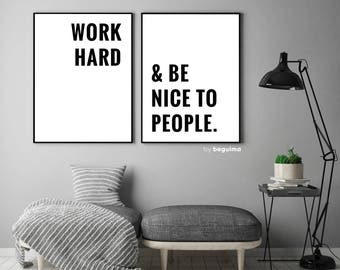 Work Hard & Be Nice To People, Set Of 2 Prints, Motivational Quote, Inspirational Wall Art, Office Decor, Classroom Poster, Digital Download