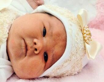 Girl Beanie Hat Newborn Girl Baby Hospital Hat Layette Newborn thru 3 months Original Design by Nanajustbananas