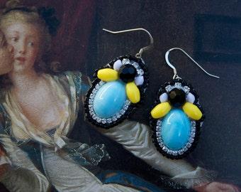 Pastel Blue Statement Earrings; Blue Resin Earrings; Marie Antoinette Earrings; Pastel Blue Earrings; Baroque Earrings;