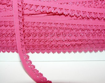 Lace 14 mm pink picot edge elastic Ribbon hot pink by the yard