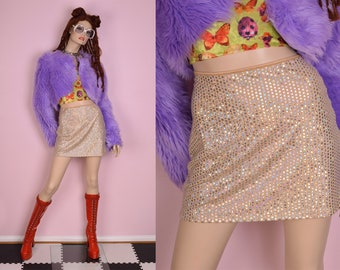90s Deadstock Rainbow Hologram Skirt/ Small/ 1990s