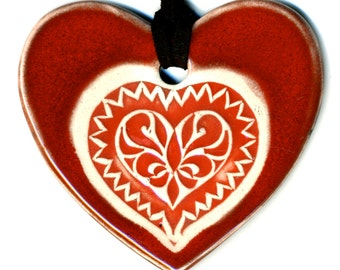 Heart In Heart Ceramic Necklace in Red