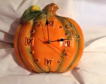 "Hand Made Ceramic Wall Clock ""Pumpkin""."