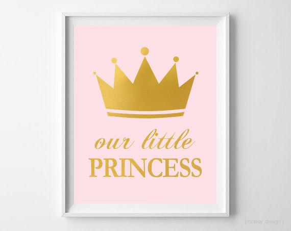 Little Princess Wall Art Princess Nursery Decor Pink Gold Foil
