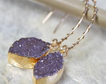 Druzy Earrings, Small Druzy Earrings, Natural Druzy Earrings, Gold Dipped Jewelry, Sparkly Earrings, Drusy Earrings, Geode Earrings