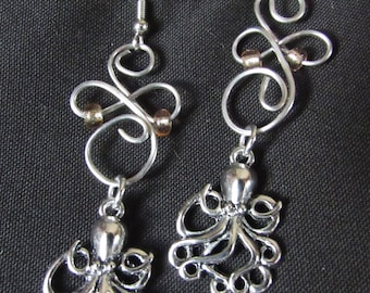 Wire wrapped octopus earrings