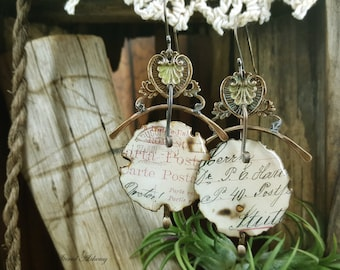 Echoes from the Past (no. 2) - Mixed Media Art Earrings