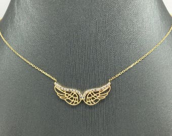 14K Yellow Gold CZ Angle Wing Necklace