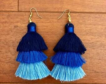 Tiered Tassel Earrings, Ombre Tassel Long Earrings, Colorful Earrings, Fringe Earrings, Long Tassel Earrings, Bridesmaid gift, handmade