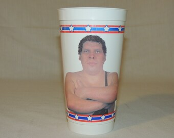 VTG 1988 Andre The Giant WWF Titan Sports Inc Superstar Wrestlers ICEE Plastic Cup World Wrestling Federation
