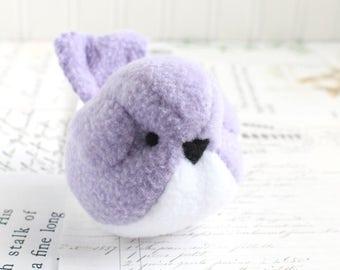 Kids Lavender Handmade Bird Stuffed Animal Childrens Fleece Bird