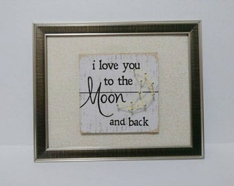 8x10 I love you to the moon and back 3D picture
