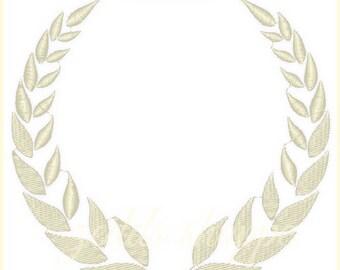 Wreath Embroidery Design  - Laurel Monogram - Crown -  Machine Embroidery Design- 5X7  Instant Download