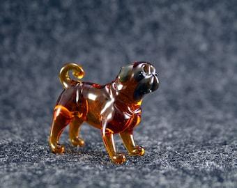 Color Glass pug dog Figurine.Dog Figurine Glass.Figure miniature.glass lampwork.glass dog sculpture.dog figurine.(x18)