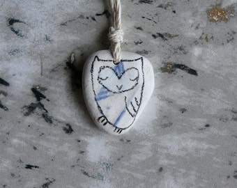 Healing Shard Necklace - Tiny Beach Pottery Owl