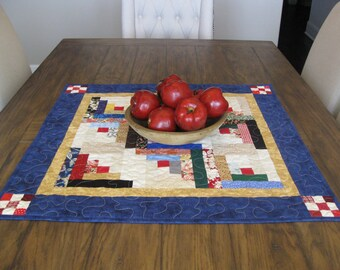 CLOSE OUT SALE Log Cabin Quilted Table Topper With Nine Patch Corners