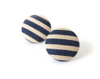 Marine earrings - blue stripes earrings - blue fabric earrings - blue stud earrings - summer earrings - nautical earrings - beach earrings
