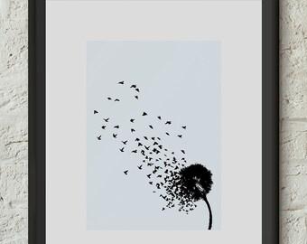 Whimsical Wall Art Decor Dandelion Poster Print Flower Birds I believe I can fly Inspiration Art Illustration Dorm Home Office Gift