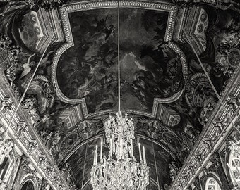 Hall of Mirrors, Paris, Palace of Versailles, Black and White, Chandelier, Glamour, Luxury - Travel Photography, Print, Wall Art
