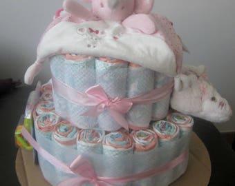 Baby shower gift diaper cake girl