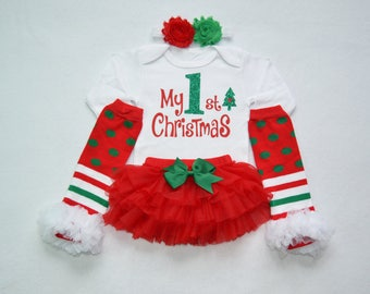 my 1st chistmas baby girl christmas outfit - red and green baby christmas - my first christmas baby girl outfit - my 1st christmas baby