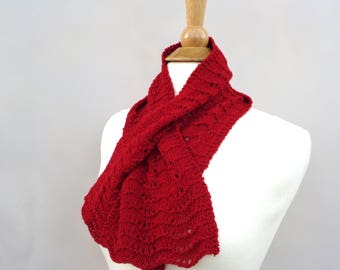 Bright Red Keyhole Scarf, Pull Through Scarf, 100% Cashmere, Hand Knit Neck Scarf, Bow Scarflette, Womens Scarf