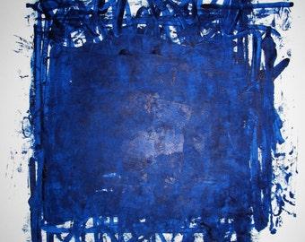 "Abstract Minimal Blue No.0862 Acrylic on Paper 24x18"" Original Modern Art Industrial"