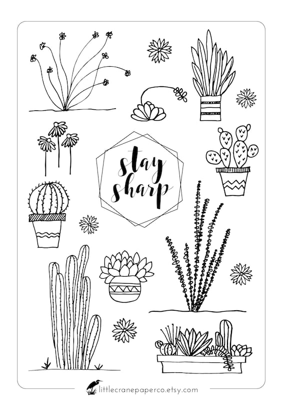 Bullet Journal Stickers Cacti and Succulent Stickers