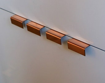 Six (6) Copper Pulls, cabinet hardware, cabinet pull, knob, handle