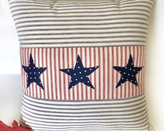 Patriotic Pillow Cover, July 4 Pillow Cover, Stars Pillow Cover, Ticking Stripe, Farmhouse Pillow, Red White Blue Pillow, 4th of July Decor