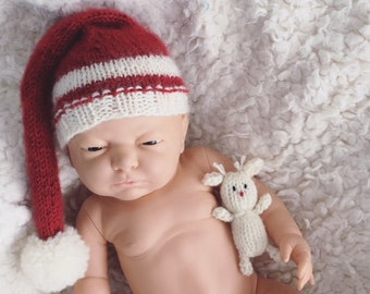 Newborn size knit long tail pompom christmas hat,knit reindeer, deer that fits in baby hand, photo prop,gift idea,coming home, ready to ship