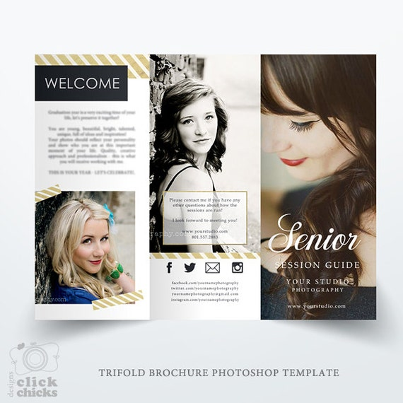 Senior Photography Guide Trifold Brochure Template Studio