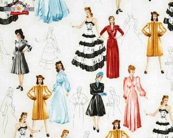 Novelty Cotton Fabric Robert Kaufman Ladies  - SUPER SALE