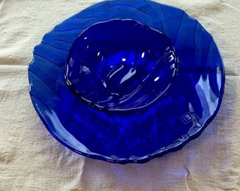 IVV Italy Cobalt Blue Glass Chip and Dip Set *Unused with Sticker*