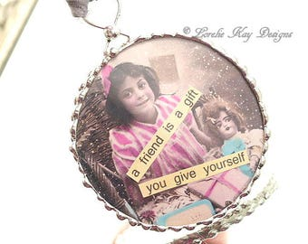 Friendship is a Gift Ornament A Girl and Her Doll Soldered Glass Hanging Ornie Inspiring Ornament One-of-a-Kind Lorelie Kay Original