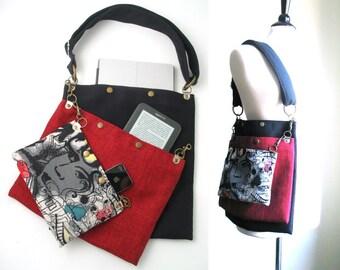crossbody tote, school bag, carry on tote, cool bag, book bag, travel bag ,laptop messenger bag, fabric handbag, womens messenger bag,