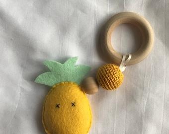 Pineapple Baby Teething Rattle Toy