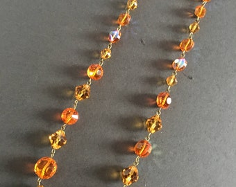 Vintage Glass Bead Necklace Orange Amber Faceted Beads Aurora Borealis