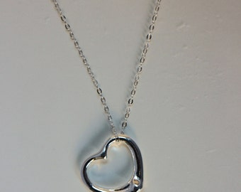 Sterling Silver Open Heart Necklace, Valentine Day Jewelry, Heart Necklace, Heart Jewelry, Silver Heart Necklace, Love