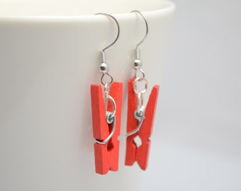 Red peg earrings, miniature pegs with silver hook, dangle earrings