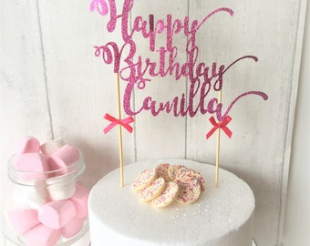 Glitter Cake Topper, Happy Birthday, Baby Shower Cake, Special Anniversary, Well Done, Welcome Home, Congratulations, Party Decorations