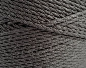 Dark gray yarn for macrame 3mm macrame rope cotton cord, cotton rope, macrame supplies, chunky yarn, dyed cotton