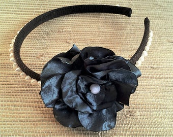 Headband with satin rose blossom