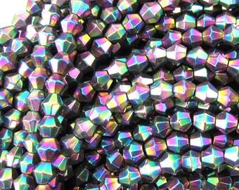 """4mm hematite bicone beads 15.5"""" strand rainbow 34954"""