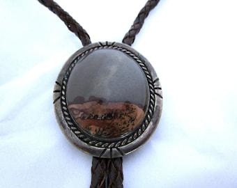 Navajo Picture Jasper Silver Bolo Tie