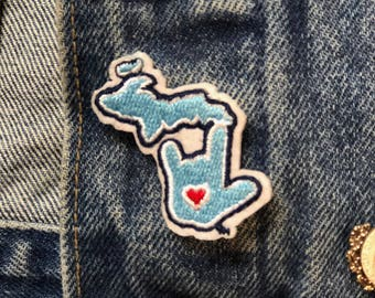 ILY Michigan Mini Applique Patch 1-3/4""