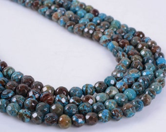 """4MM378 4mm Faceted blue veins stone round ball loose gemstone beads 16"""""""