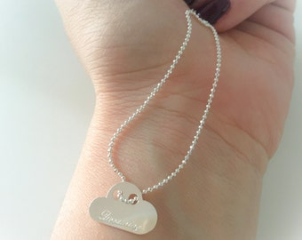 925 Silver Plated Pendant Necklace with Dreaming Engraving