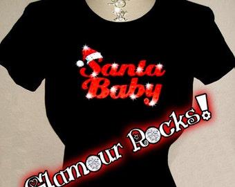 Santa Baby Swarovski Rhinestone Crystal T Tee Shirt