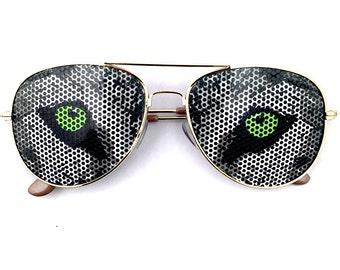 Wild Graphic Wolf Face Eyes Party Sunglasses Aviator Shades